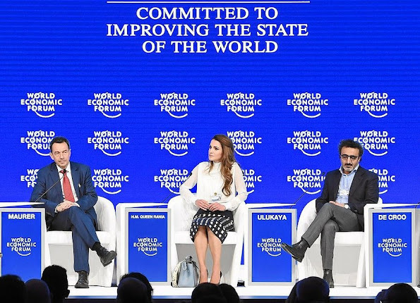 Queen Rania of Jordan listens to the International Committee of the Red Cross (ICRC) president Peter Maurer during a session at the World Economic Forum (WEF) annual meeting in Davos.