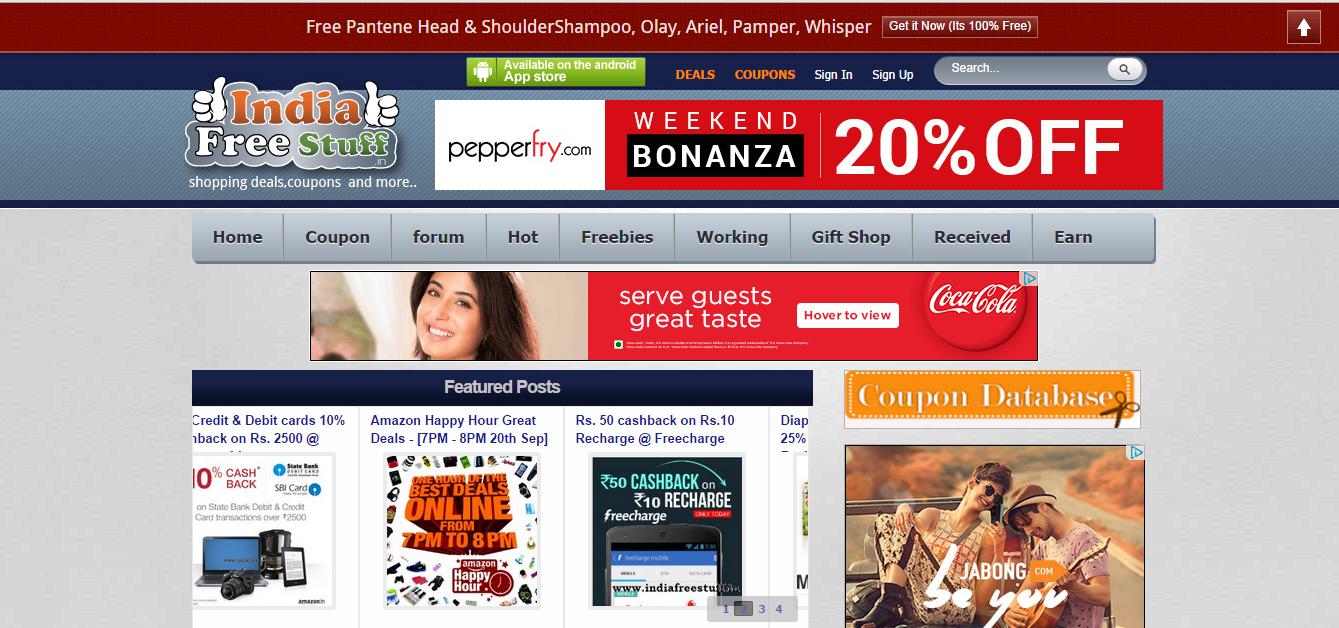 Example of affiliate marketing sites - Indiafreestuff