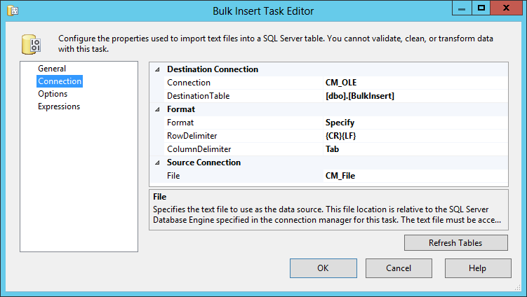 Bulk Insert Task Connections tab