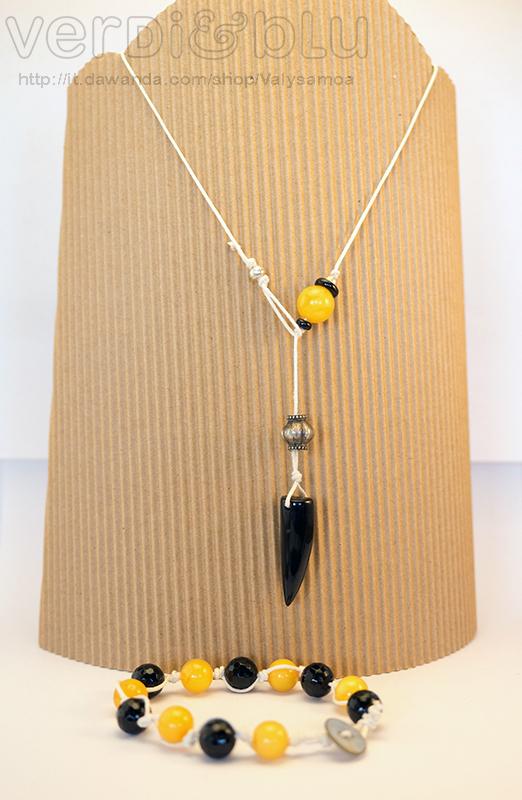 collana e bracciale ambra, onice e argento