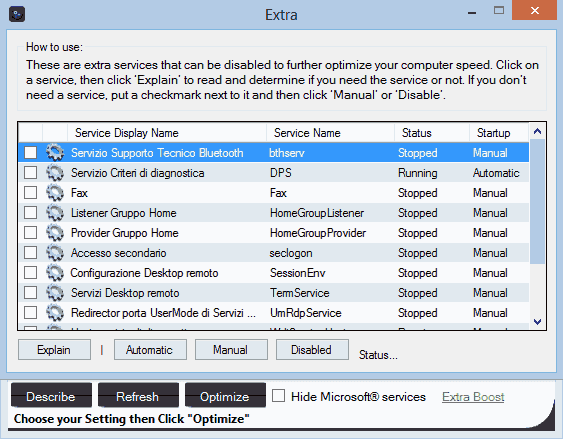 Synei Service Manager ottimizzazione extra servizi Windows