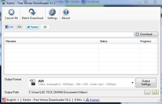 This is how kastor vimeo downloader looks like