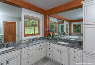 beautiful douglas fir timbers frame the bathroom