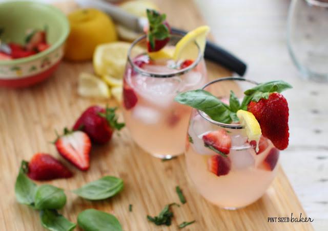 Fresh, garden grown basil and strawberries add a wonderful flavor to basic lemonade. Add some vodka for an adult Strawberry Basil Lemonade.