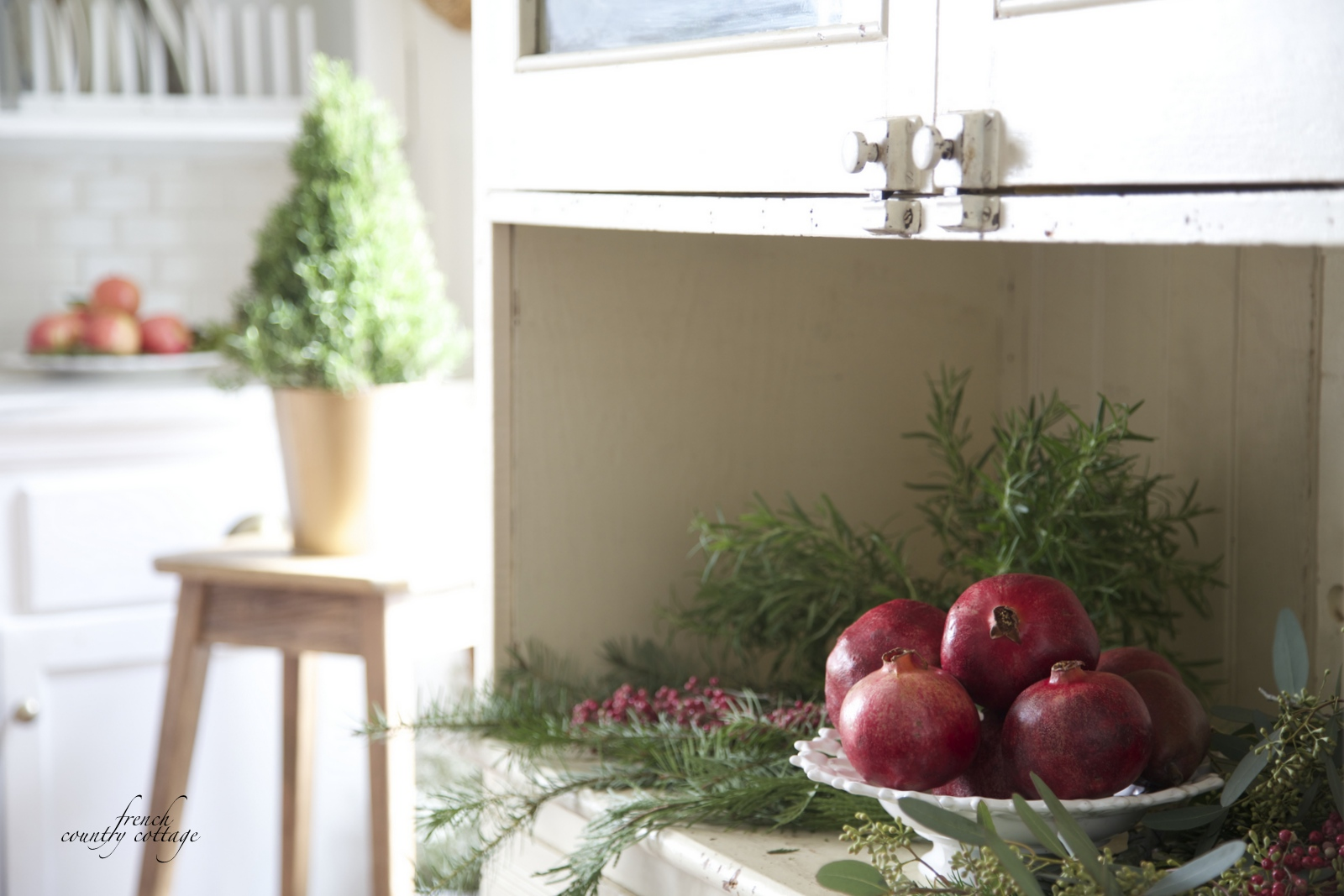 Courtney at french country cottage decorated the kitchen - French Country Cottage Christmas Home Holiday Decorating Kitchen