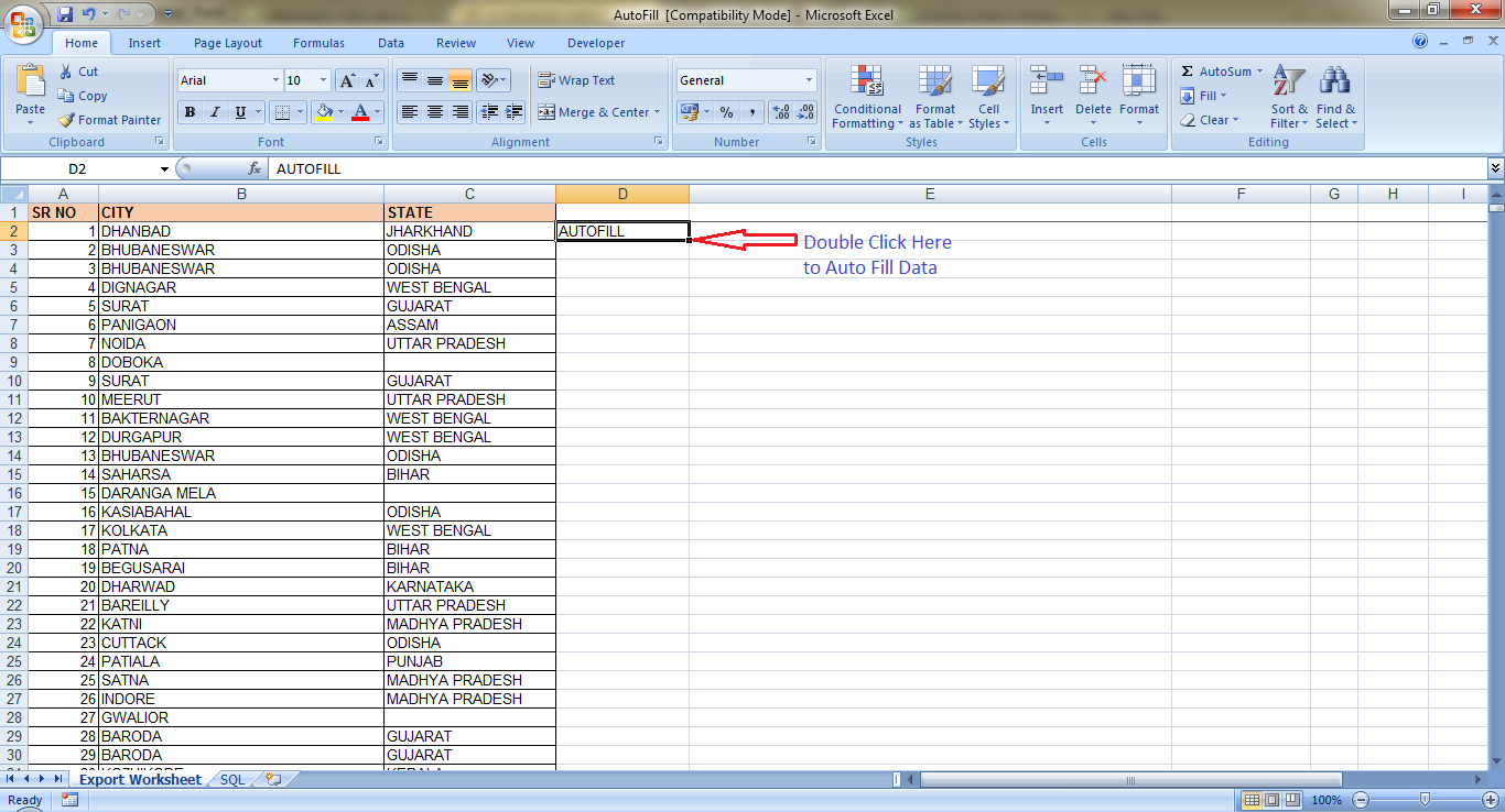 excel fill column how to delete
