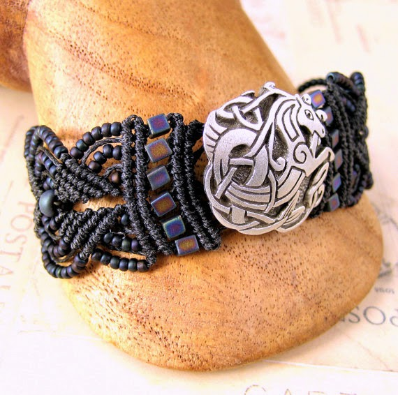 Micro macrame bracelet with pewter sea dragon button.