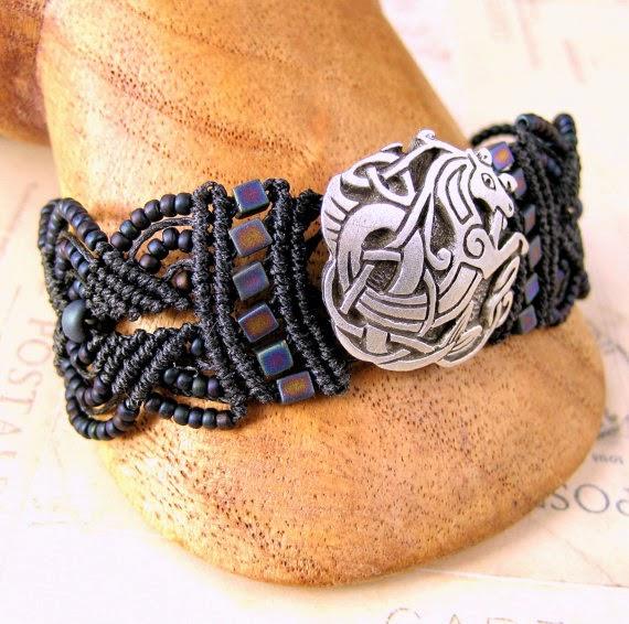 Micro macrame bracelet with pewter sea dragon button.