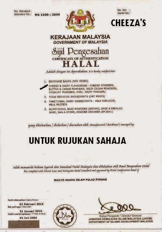 Serbuk Keju Cheeza's Adalah Halal