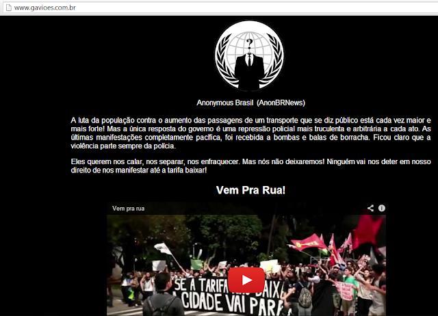 Hacktivistas Anonymous desconfiguram página da Gaviões da Fiel em apoio aos protestos pela redução das tarifas do transporte público.