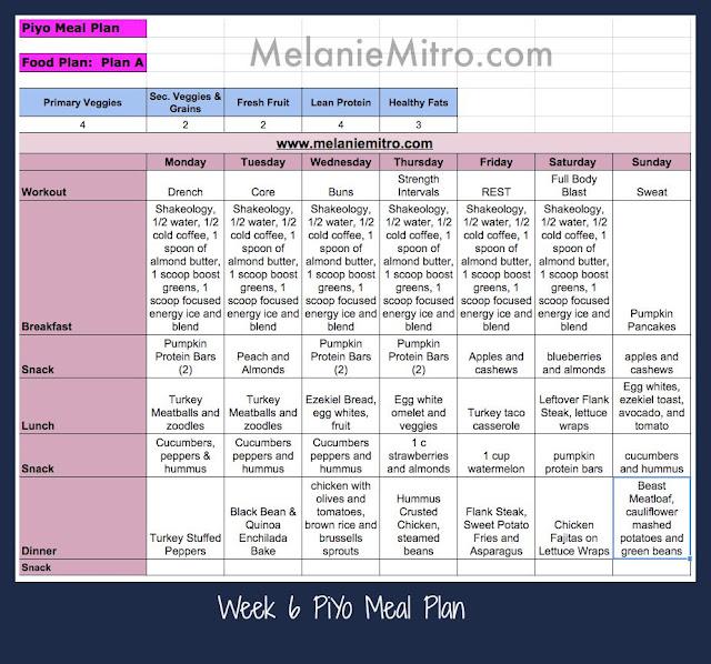 PiYo Meal Plan, Week 6, Strength Plan, Plan B, Melanie Mitro, Transformation Story, Beachbody Challenge, Clean Eating, Recipes, Meal Planning, Water tips