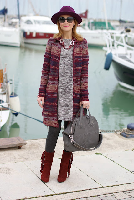 Jacquard coatigan, Ecua-Andino wool hat, suede fringed boots, Givenchy Nightingale bag, Fashion and Cookies, fashion blogger