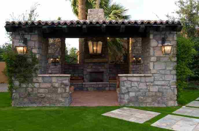 Home furniture outdoor fireplace patio for Outdoor kitchen roof structures