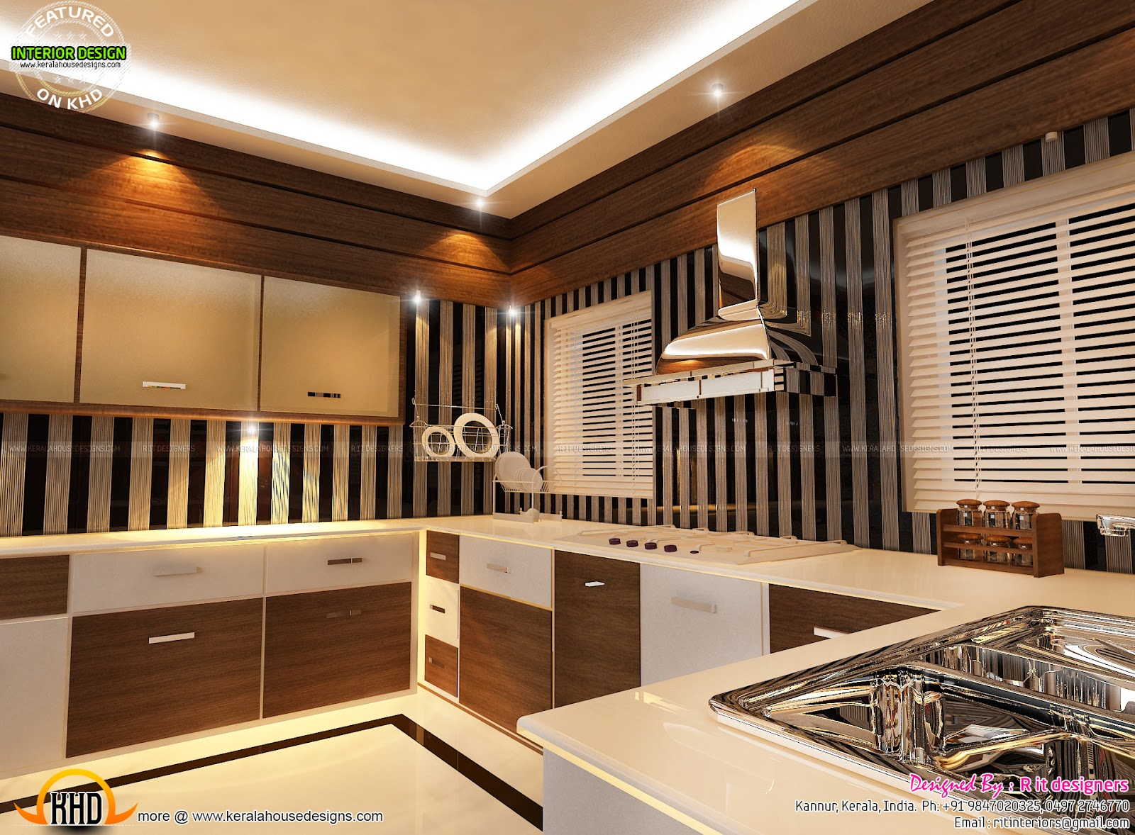 2194 sq ft nice contemporary house keralahousedesigns for 7 ft kitchen ideas