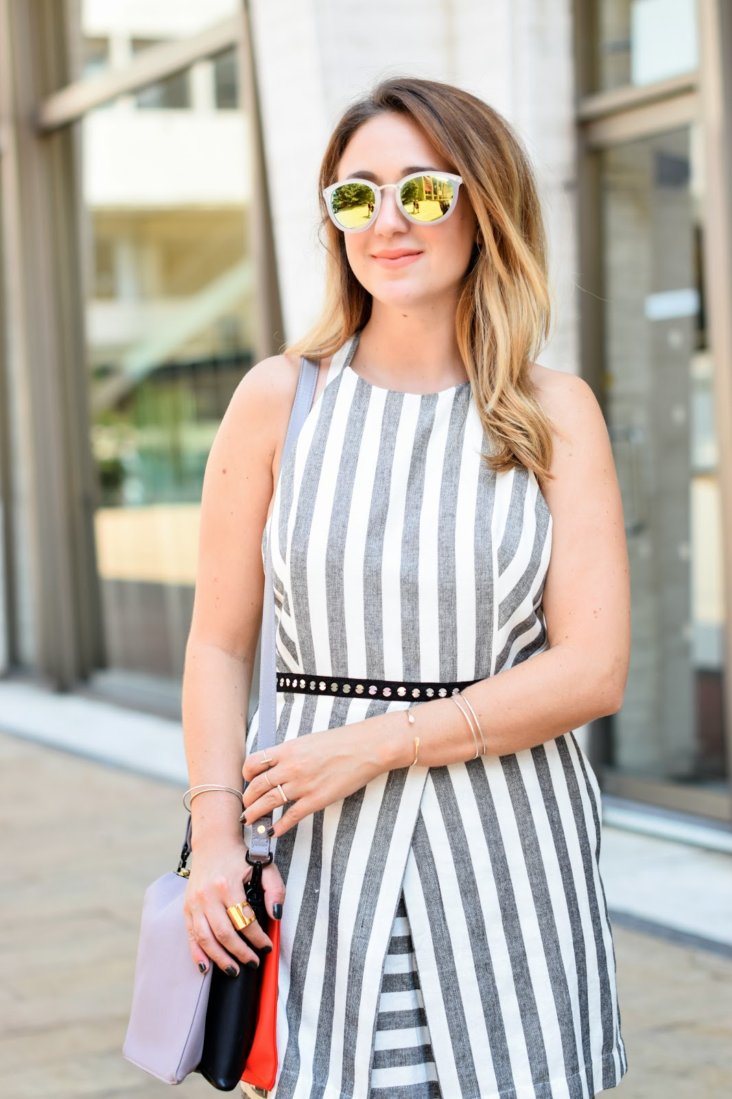 50 shades of gray, grey, dress, stripes, linen, mules, nyfw, blogger, style
