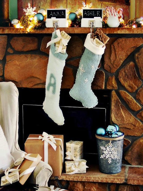 Cool  Classic Christmas fireplace decoration with socks candles bells stars
