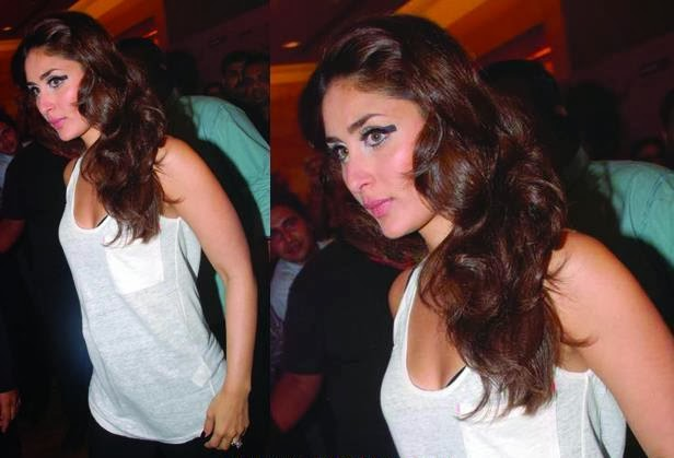 Kareena Kapoor white Top Black Bra Visible White Eyebrows