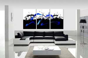 "ORIGINAL ABSTRACT PAINTING ""IN CONTROL - BLACK/BLUE"" ONLY $250"