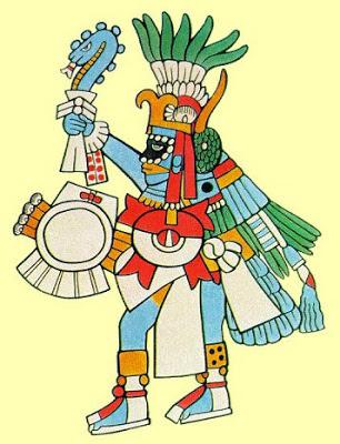 Бог с синим цветом кожи - Кетцалькоатль.
