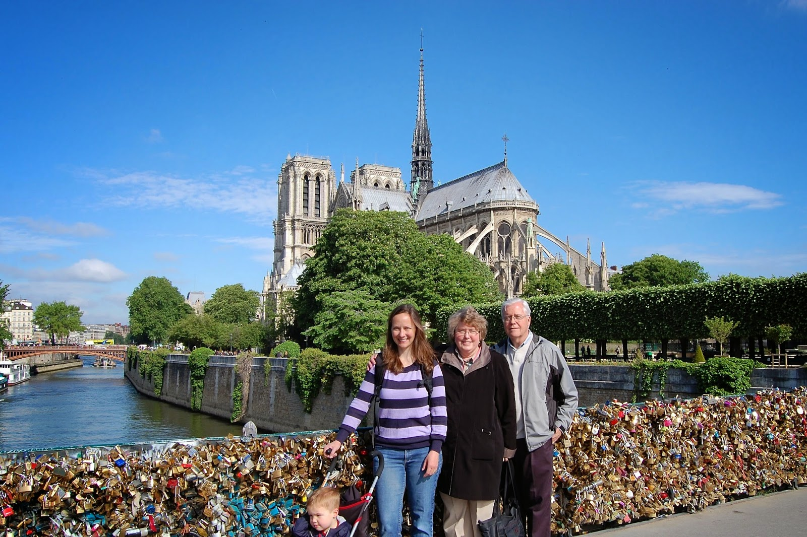 In Paris with Notre Dame Cathedral as backdrop
