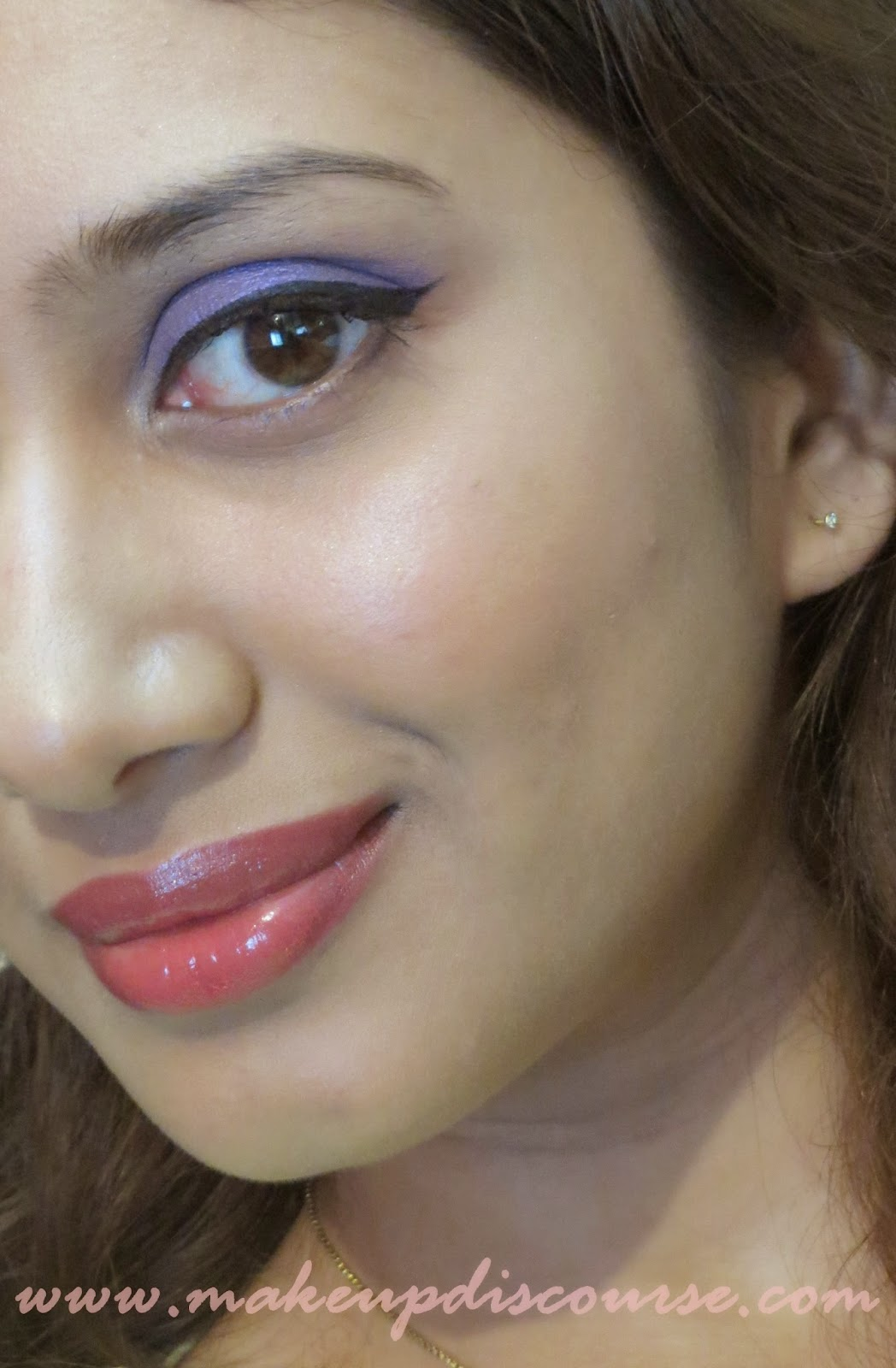 How to do Spring inspired eyemakeup with Bright Orange Lips and Purple Eyemakeup