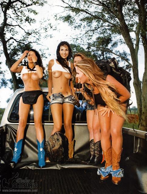 Mochileiras Nuas e Peladas da Revista Sexy