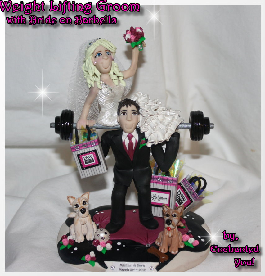 Handmade Weight lifting Groom with Bride on Barbells Cake Topper