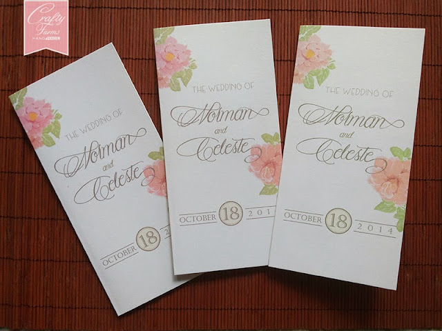Simple pocket card with vintage pink florals