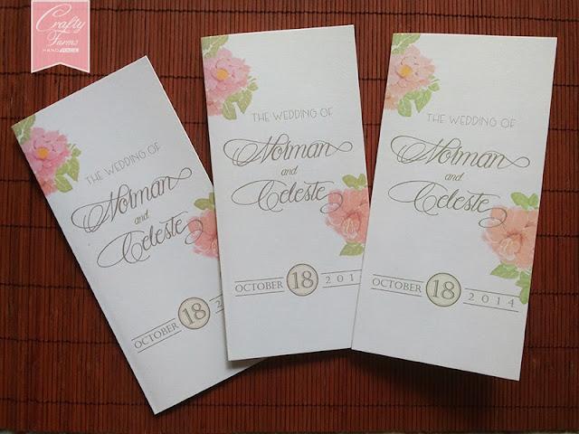 Simple pocket card with vintage pink florals