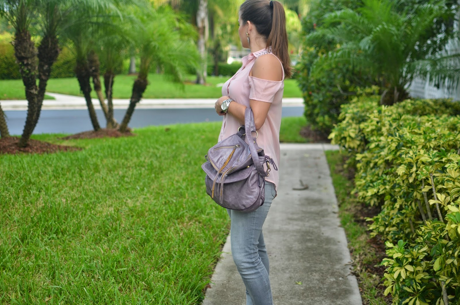 blush top - gray jeans - pink sandals - lavender bag - Emma & Sophia