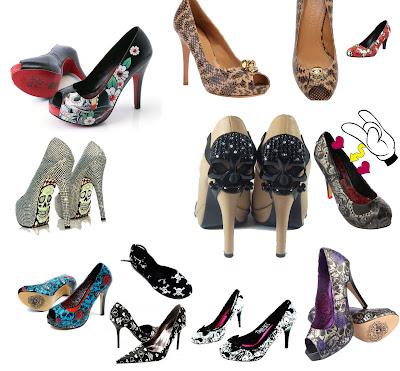 Sapatos com estampa e detalhes de caveiras