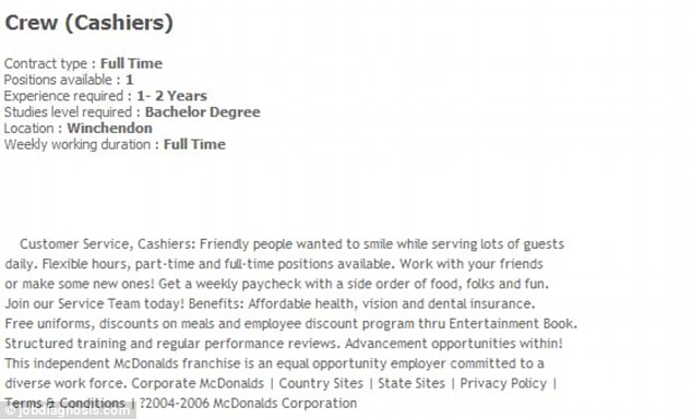 mcdonald    s requires college degree and experience – to be a    mcdonald    s requires college degree and experience – to be a cashier