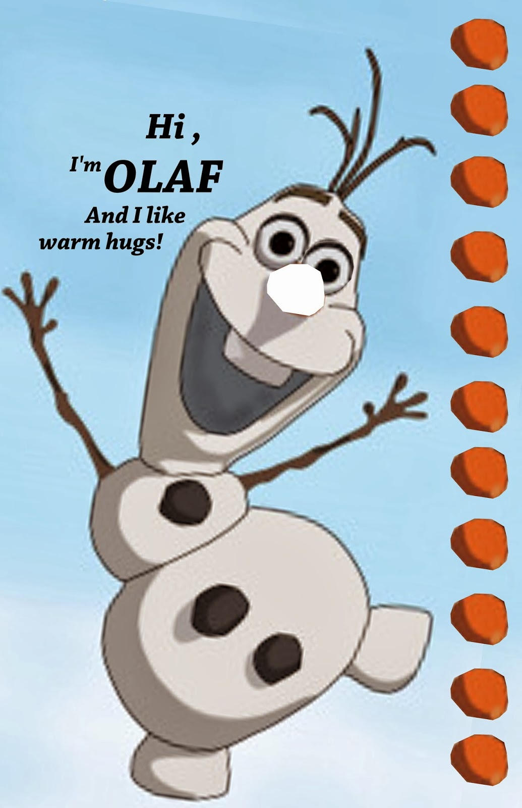 Party Inspired by Olaf 4: Pin the Nose on Olaf (Party Activity)