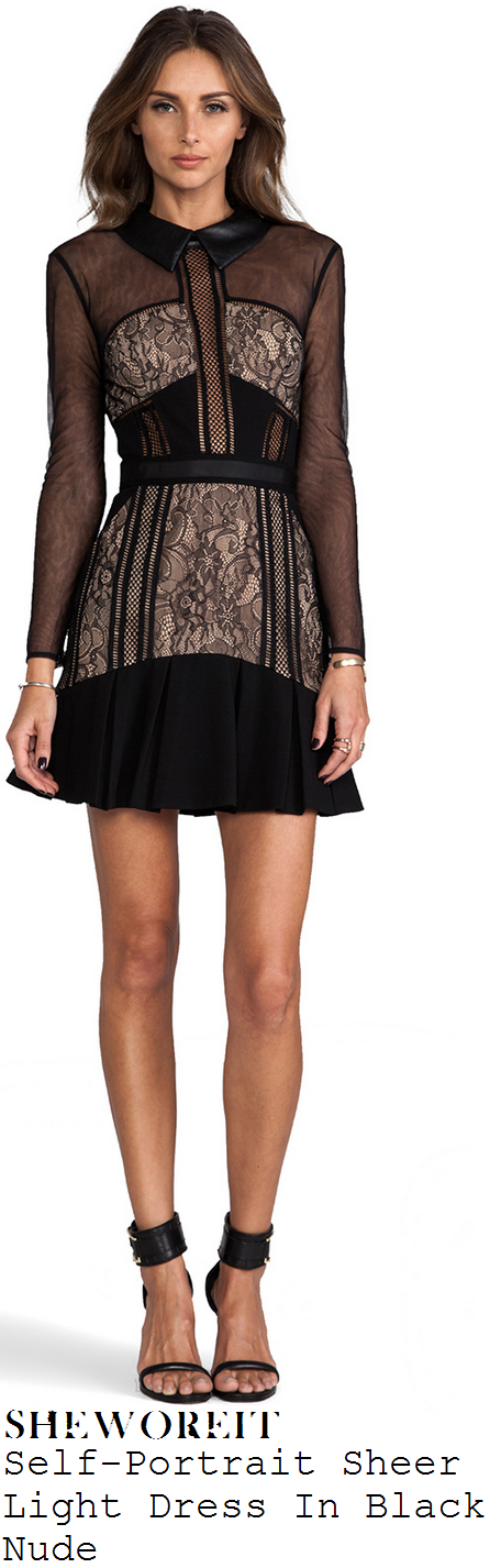 alesha-dixon-black-and-nude-sheer-lace-long-sleeve-mini-dress