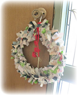 shabby chic fabric Christmas wreath