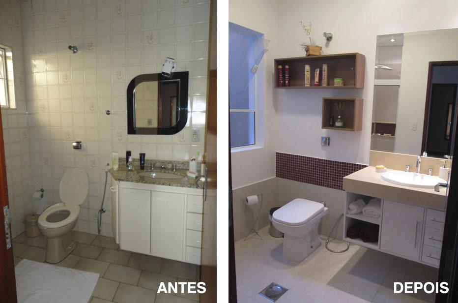 Antes e Depois  Banheiros  projética  design e arquitetura -> Reforma Banheiro Pequeno Antes E Depois