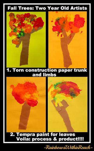 photo of: Fall Tree Art Project by Toddlers (Fall RoundUP via RainbowsWithinReach) 