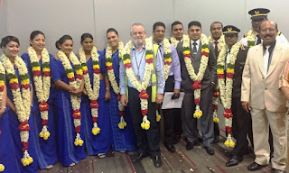 The Mihin Lanka Flight Crew welcomed in Chennai