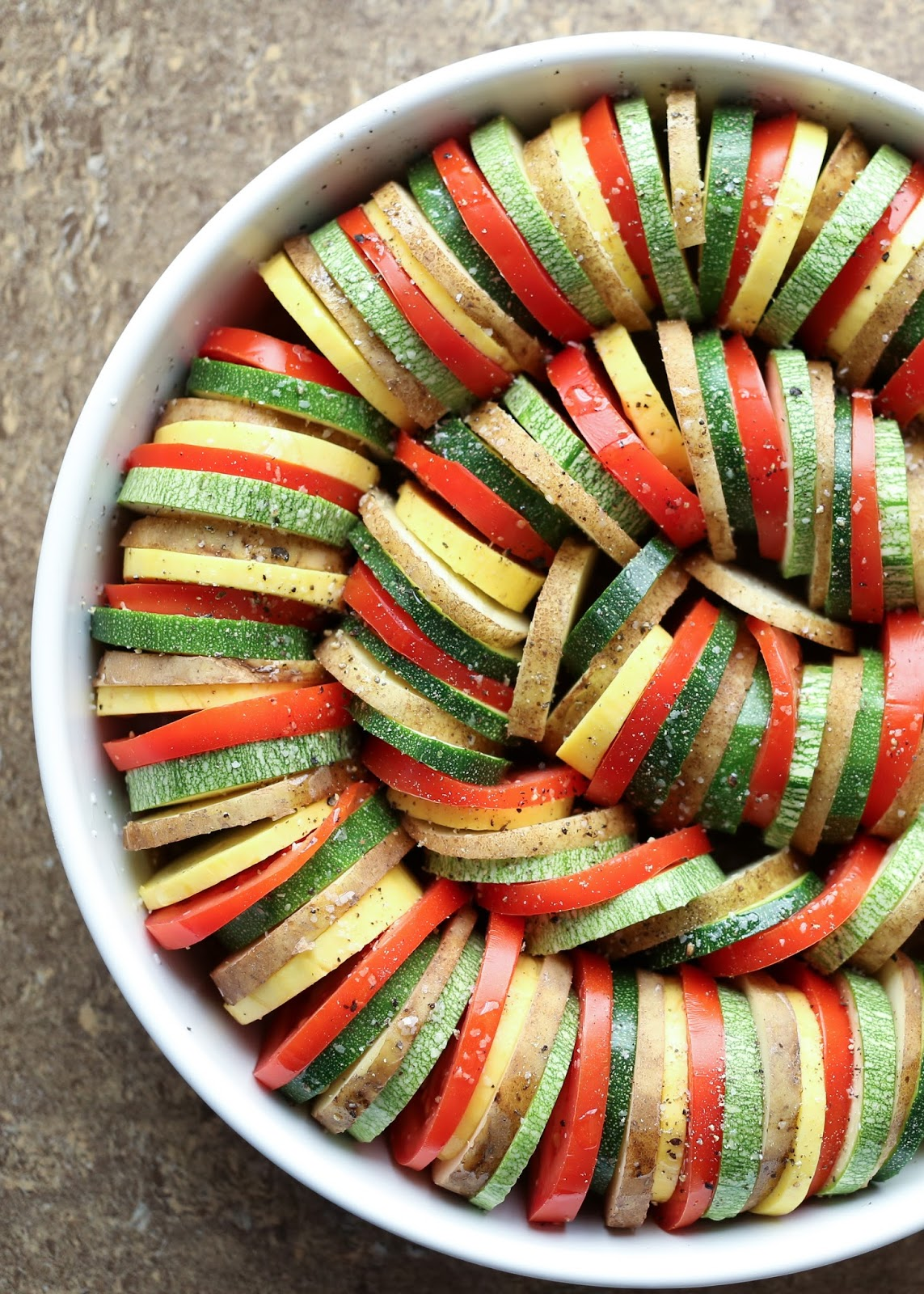 Summer Vegetable Tian Recipe with Zucchini, Tomatoes, and Potatoes by Barefeet In The Kitchen