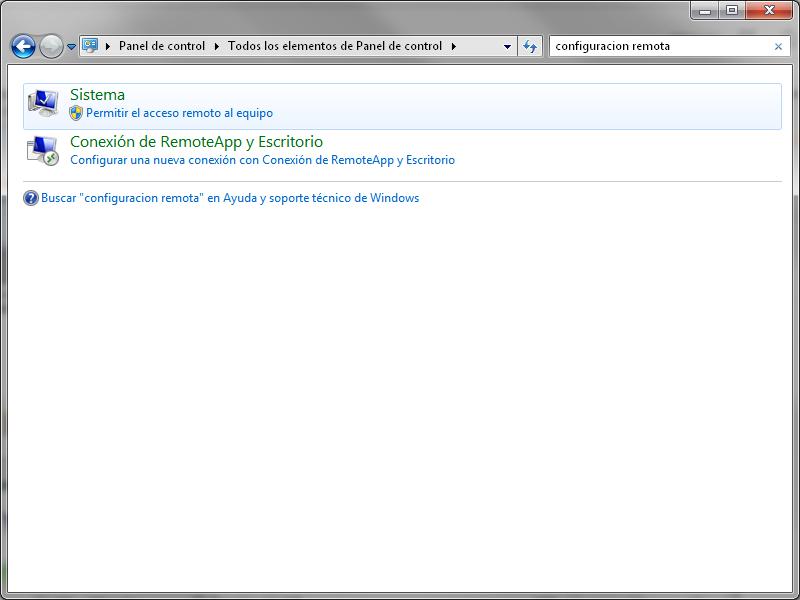 Configuracion remota Windows 7