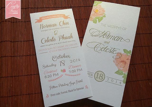Vintage Typography Pink floral garden wedding card Malaysia Kuala Lumpur