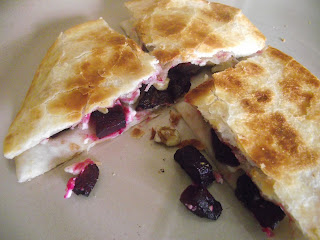 beet feta and walnut quesadillas