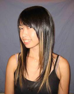 Luzes claras em cabelos pretos