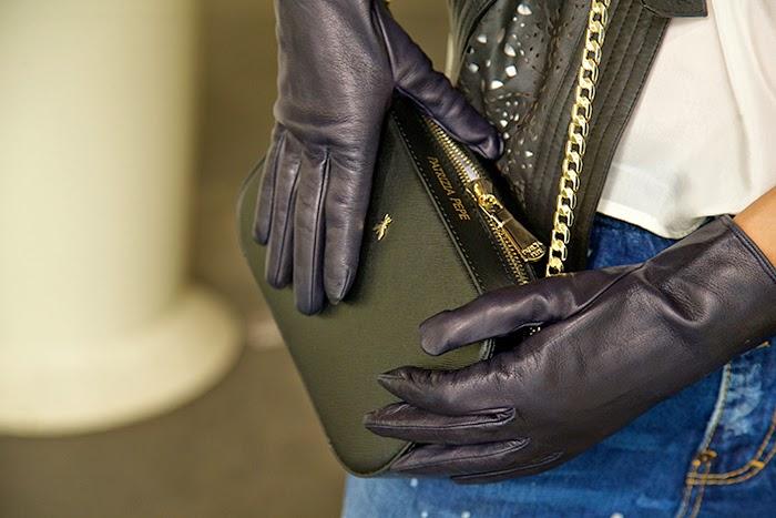 pochette patrizia pepe guanti pelle