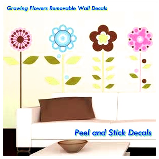 Growing flowers removable wall decals peel n stick decals
