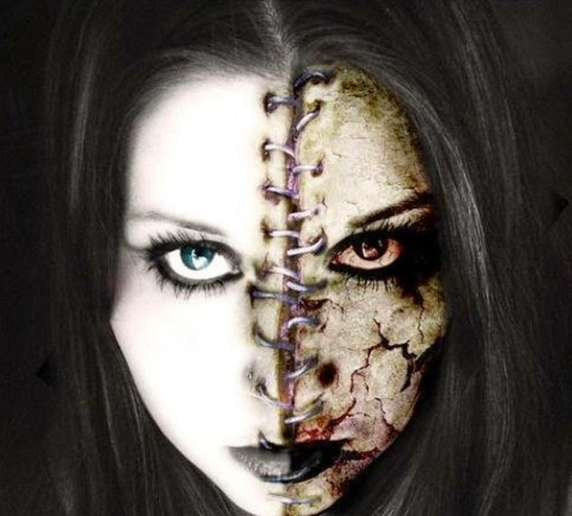 Halloween Half Dead Face Makeup