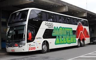 ônibus da empresa Monte Alegre no porto de Santos