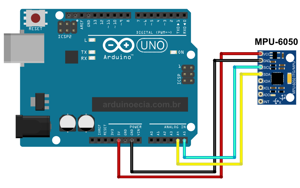 Circuito MPU-6050 e Arduino Uno