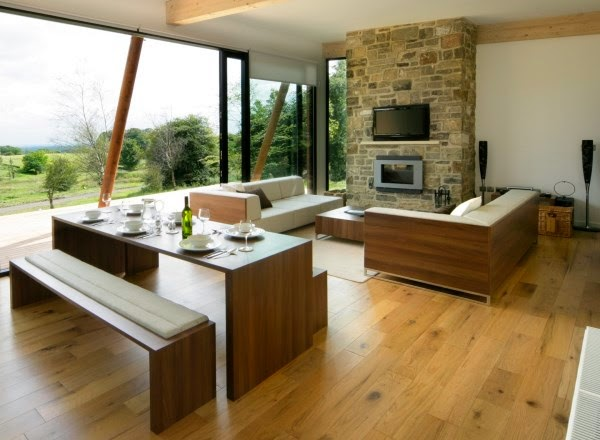Small Living Room Design Ideas Wooden Floor Bench And Large Window