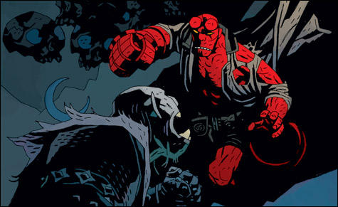 Hellboy luchando con un demonio por Mike Mignola